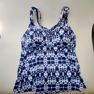 APT 9 Blue Tie Dye Padded Swim Tank Cami